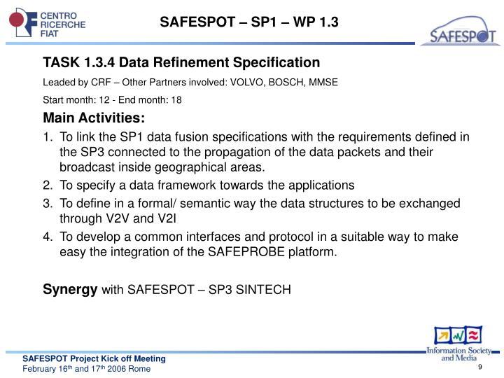 SAFESPOT – SP1 – WP 1.3