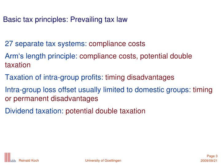 Basic tax principles prevailing tax law
