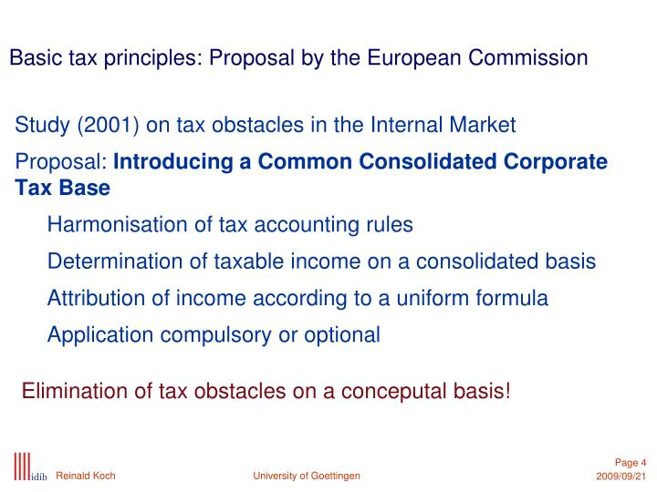 Basic tax principles: Proposal by the European Commission