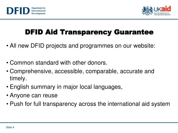 DFID Aid Transparency Guarantee