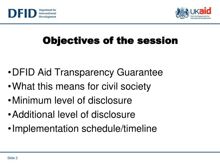 Objectives of the session