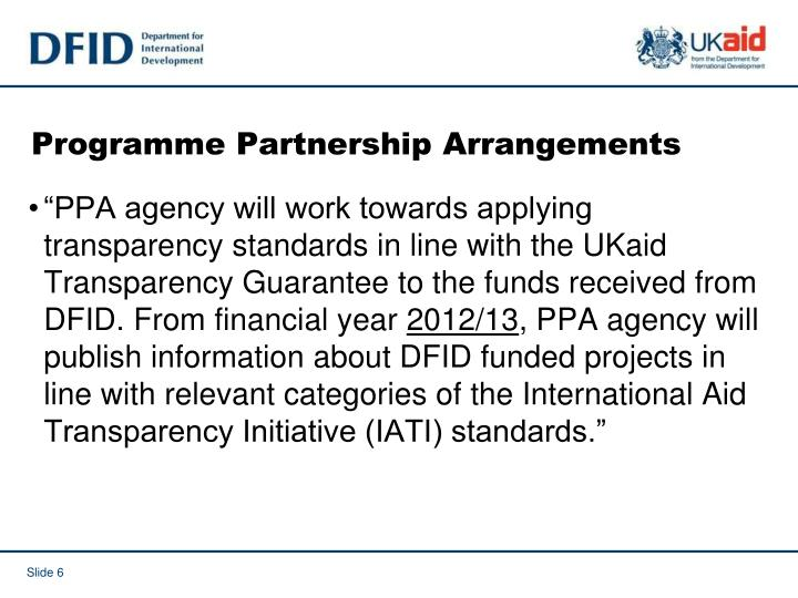 Programme Partnership Arrangements