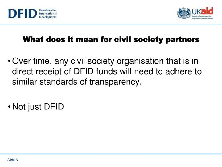 What does it mean for civil society partners