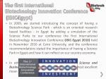 the first international biotechnology innovation conference ibic egypt