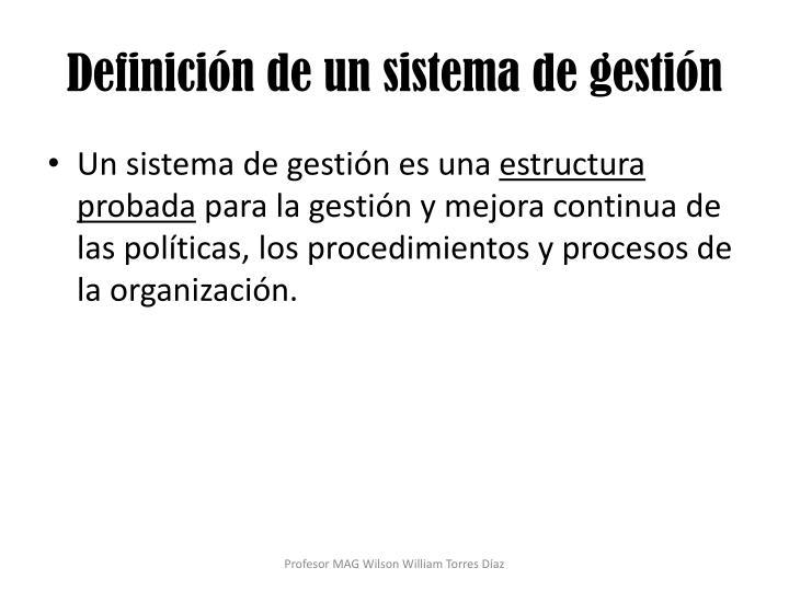 Definición de un sistema de gestión