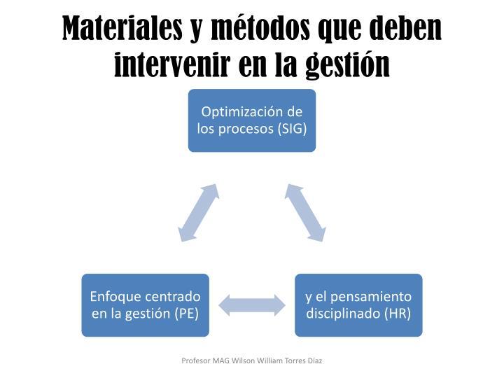 Materiales y métodos que deben intervenir en la gestión
