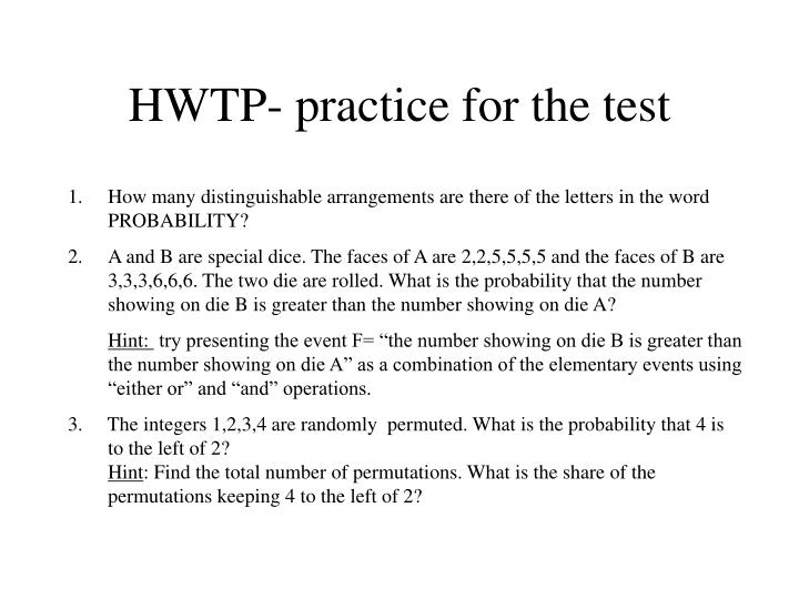 Hwtp practice for the test