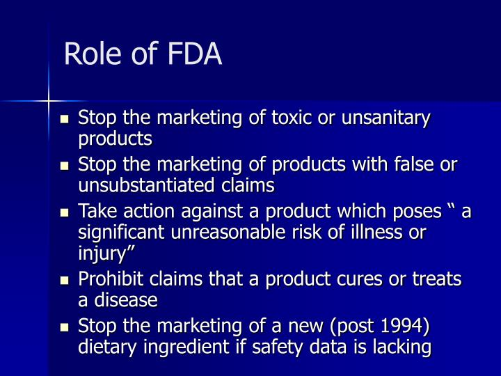 Role of FDA