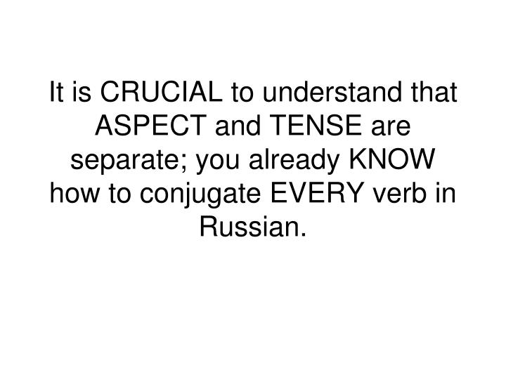 It is CRUCIAL to understand that ASPECT and TENSE are separate; you already KNOW how to conjugate EVERY verb in Russian.