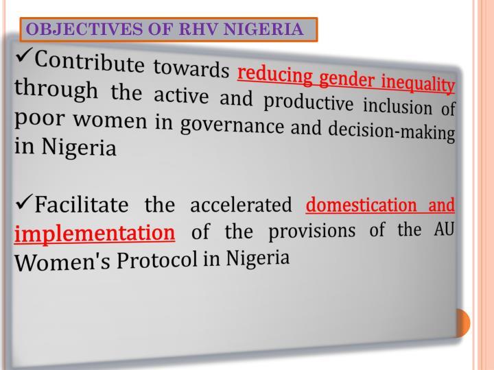 OBJECTIVES OF RHV NIGERIA