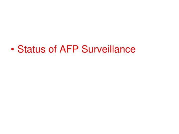 Status of AFP Surveillance