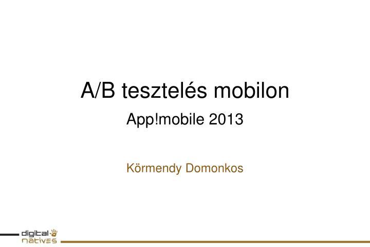 A/B tesztelés mobilon