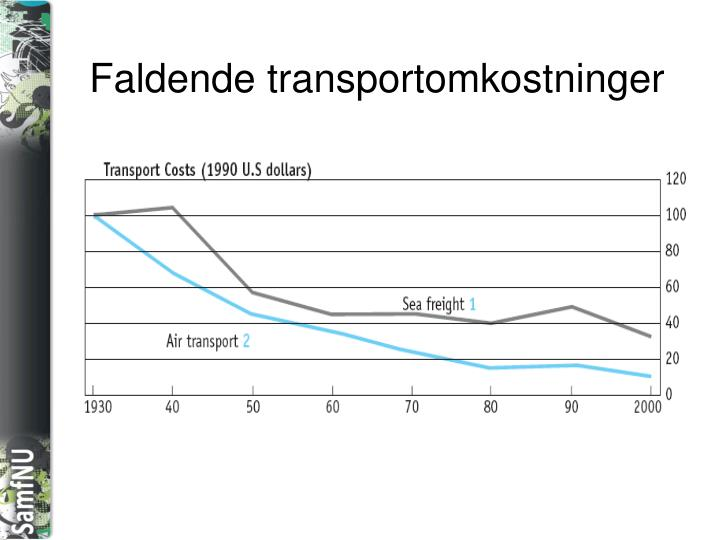 Faldende transportomkostninger