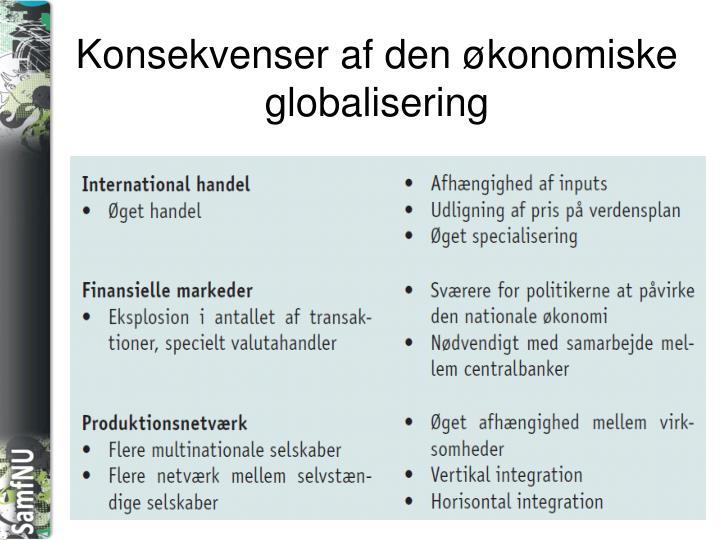 Konsekvenser af den økonomiske globalisering