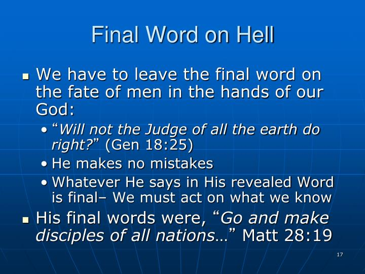 Final Word on Hell