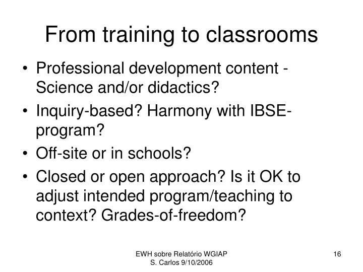 From training to classrooms