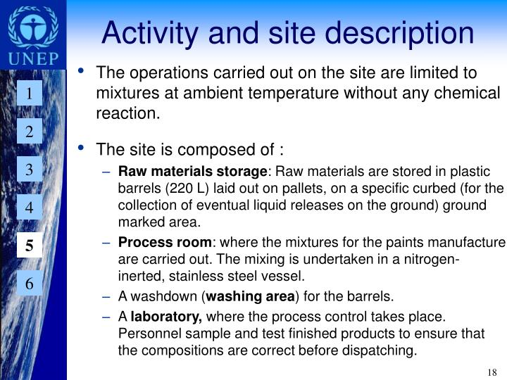 Activity and site description