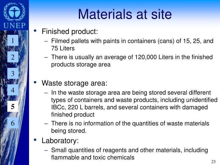 Materials at site
