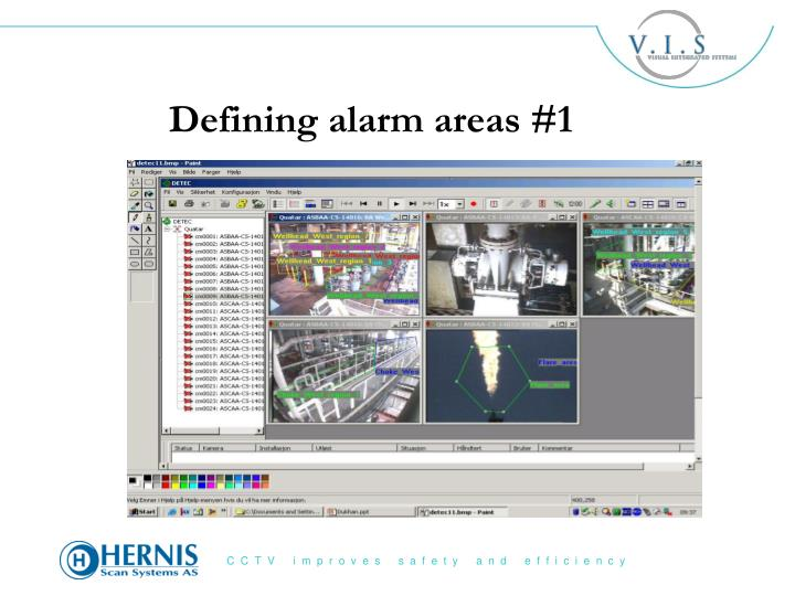 Defining alarm areas #1