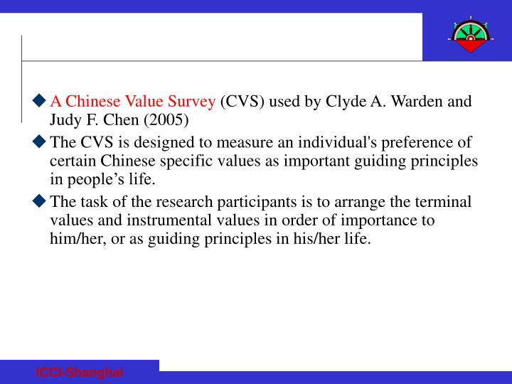 A Chinese Value Survey