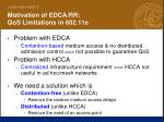 motivation of edca rr qos limitations in 802 11e