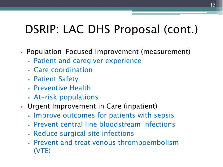 DSRIP: LAC DHS Proposal (cont.)