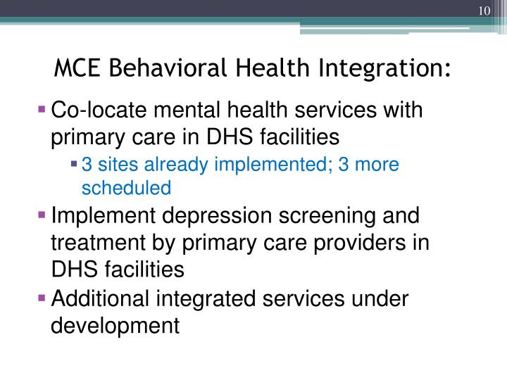 MCE Behavioral Health Integration: