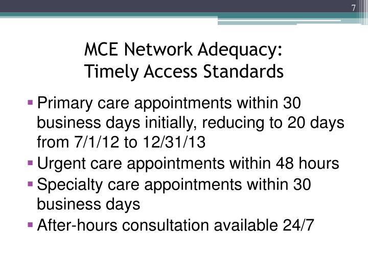 MCE Network Adequacy: