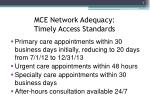 mce network adequacy timely access standards