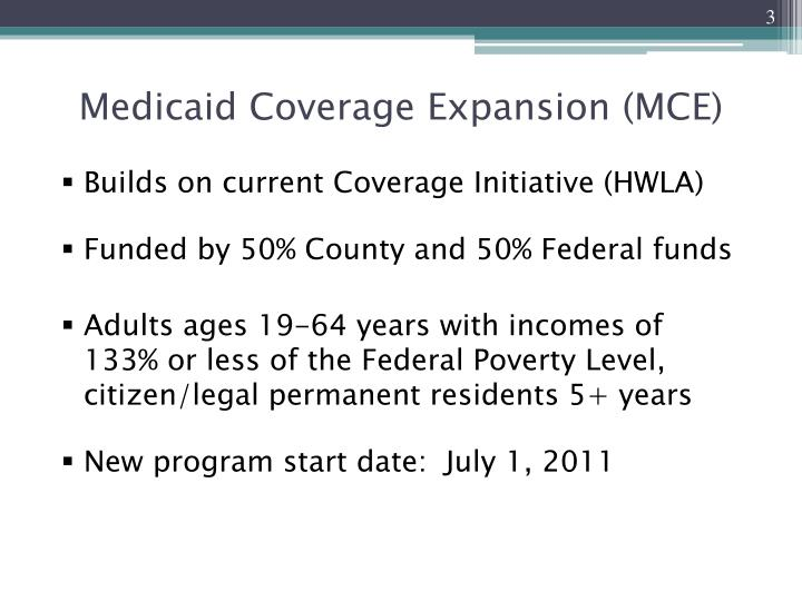 Medicaid coverage expansion mce