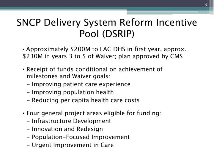 SNCP Delivery System Reform Incentive Pool (DSRIP)