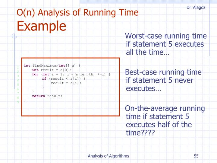 O(n) Analysis of Running Time