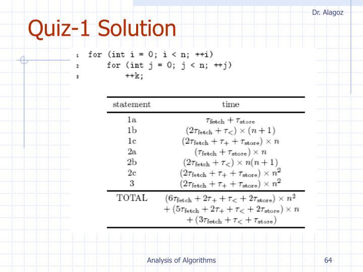 Quiz-1 Solution