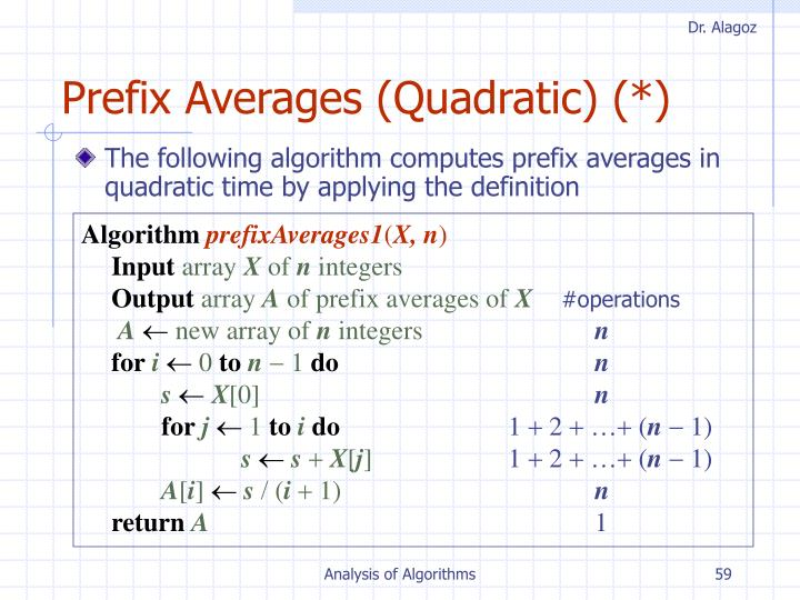Prefix Averages (Quadratic) (*)