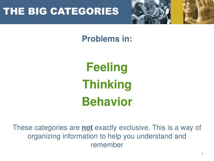 THE BIG CATEGORIES