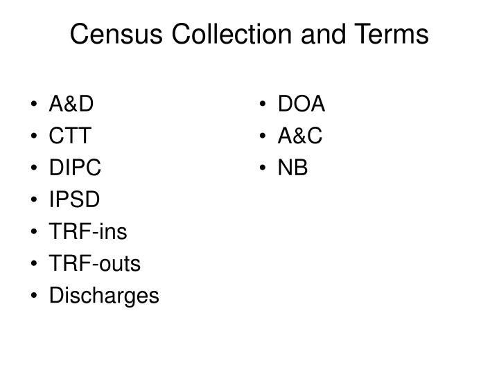 Census collection and terms