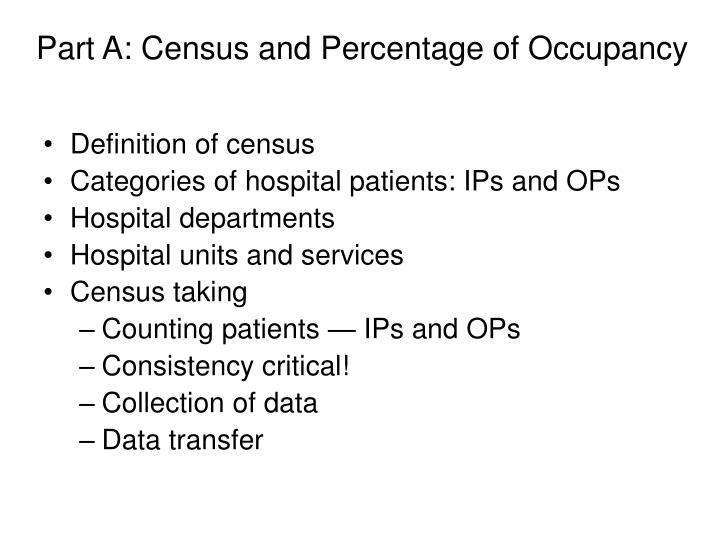 Part a census and percentage of occupancy