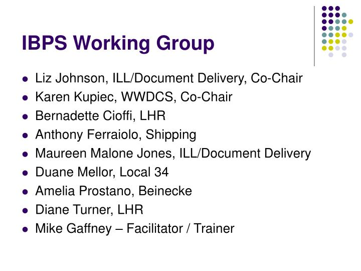IBPS Working Group