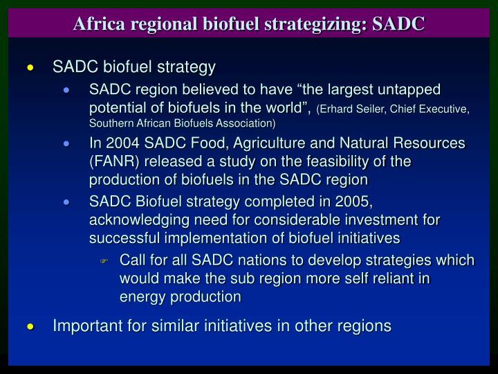 Africa regional biofuel strategizing: SADC