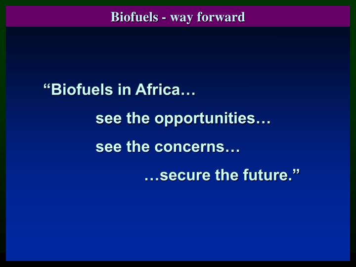 Biofuels - way forward