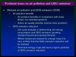 pertinent issues on air pollution and ghg emissions