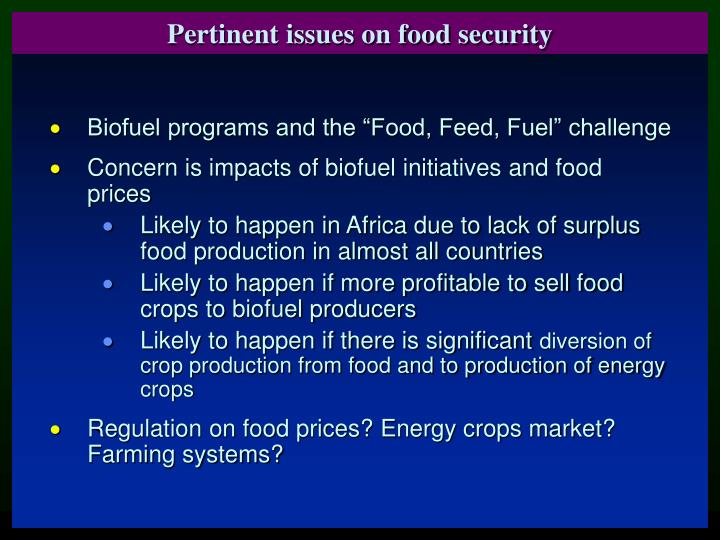 Pertinent issues on food security