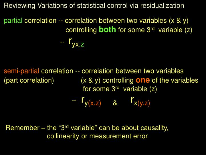 Reviewing Variations of statistical control via residualization