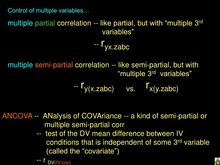Control of multiple variables…