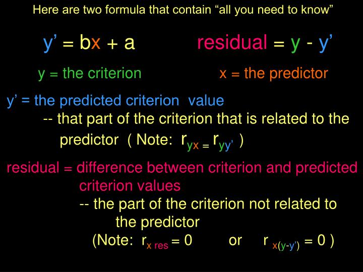 "Here are two formula that contain ""all you need to know"""