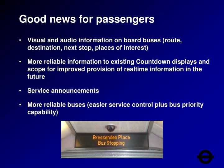 Good news for passengers