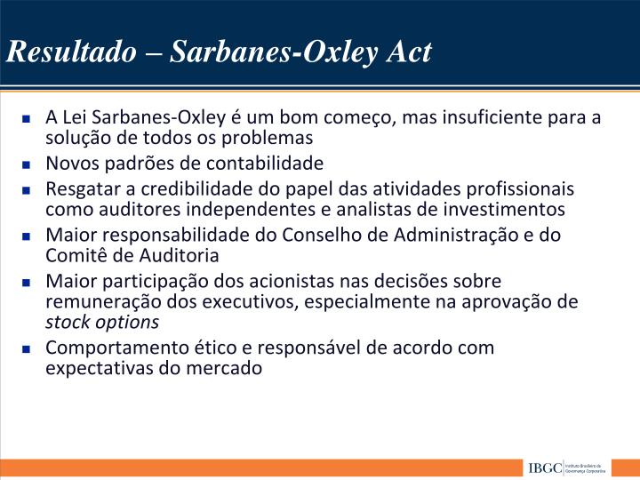 Stock options sarbanes oxley