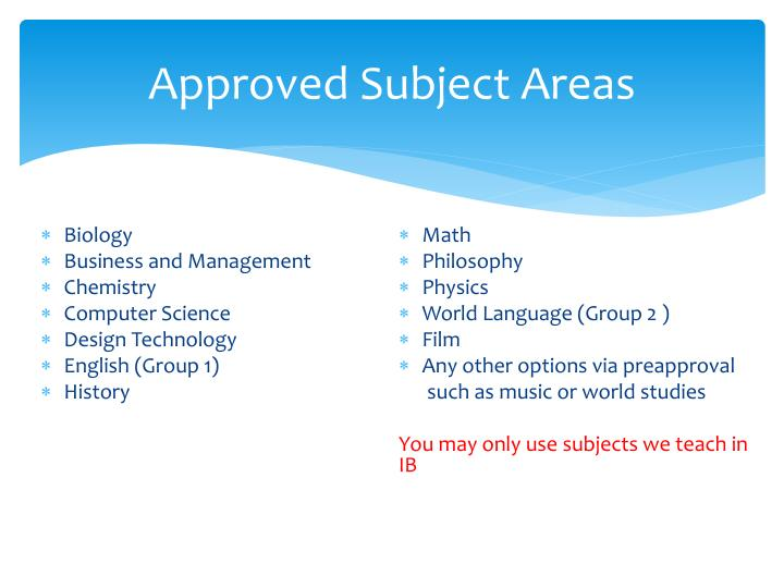 Approved Subject Areas