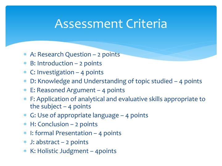 Assessment Criteria