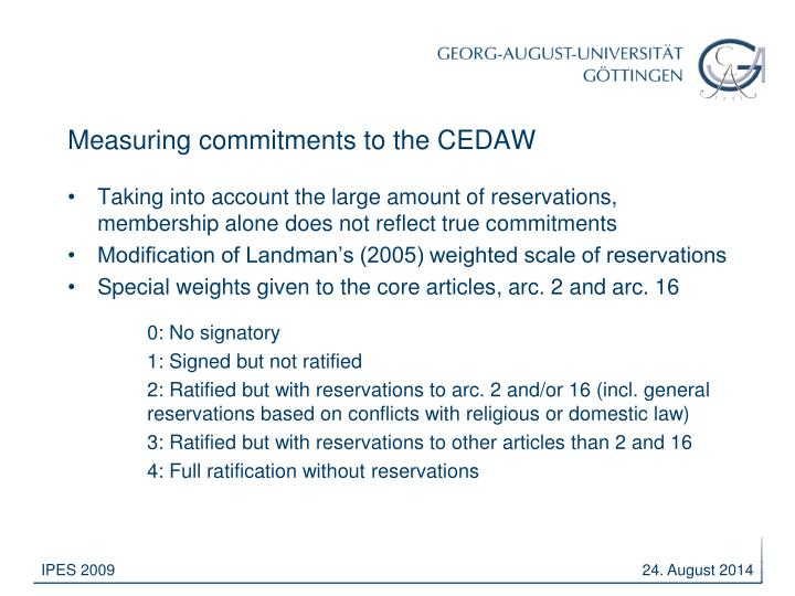 Measuring commitments to the CEDAW